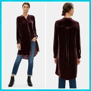 Eileen Fisher Velvet Button-Front Tunic Shirt